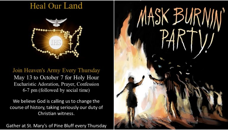 Tonight! Holy Hour to Pray for the USA & Mask Burning Party!